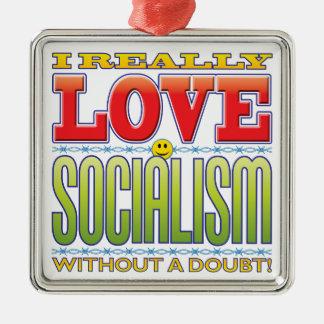 Cara del amor del socialismo adorno cuadrado plateado