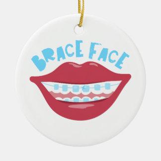 Cara del apoyo adorno navideño redondo de cerámica
