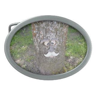 Cara del árbol de la diversión hebilla de cinturón oval