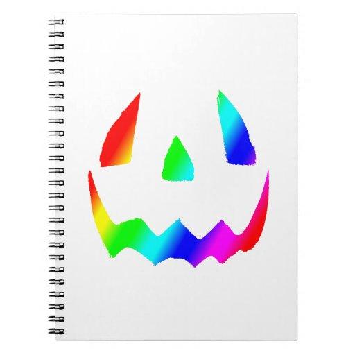 Cara del arco iris de la linterna de Jack O Libro De Apuntes Con Espiral