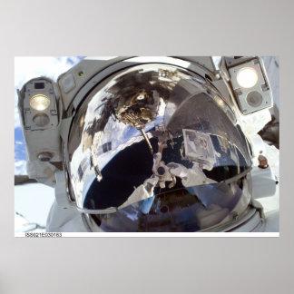 Cara del astronauta póster