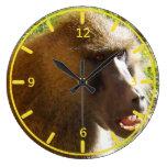 Cara del babuino que muestra los dientes relojes