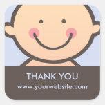 Cara del bebé - azul y pegatinas personalizados calcomanías cuadradass