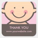 Cara del bebé - rosa y pegatinas personalizados calcomania cuadradas personalizadas