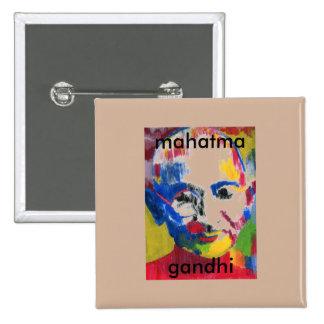 cara del botón cuadrado de Mahatma Gandhi de los