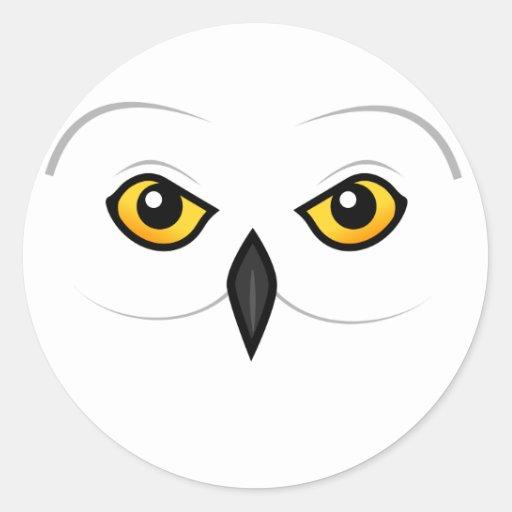 Cara del búho de Birdorable Nevado Pegatina Redonda