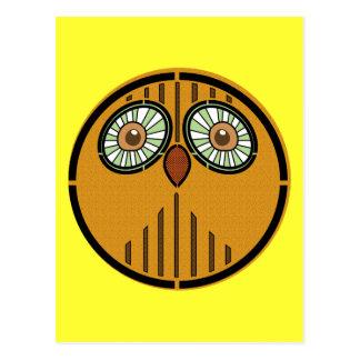 Cara del búho del arte abstracto postales