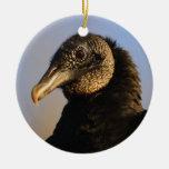 cara del buitre negro ornamento de navidad
