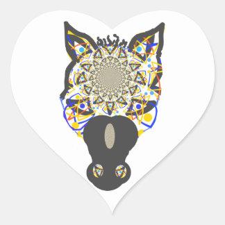 Cara del caballo pegatina en forma de corazón