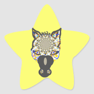 Cara del caballo pegatina en forma de estrella
