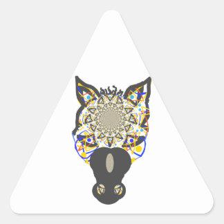 Cara del caballo pegatina triangular