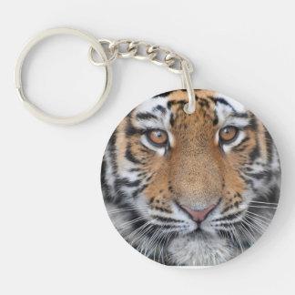 Cara del cachorro de tigre llavero redondo acrílico a doble cara