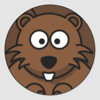 Cara del castor del dibujo animado etiqueta redonda