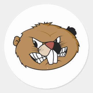 Cara del castor etiqueta redonda