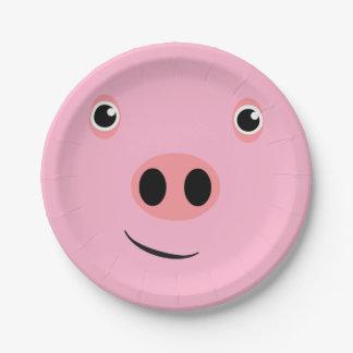 Cara del cerdo plato de papel de 7 pulgadas