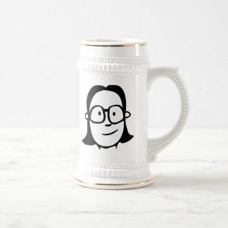 Cara del chica del dibujo animado con los vidrios taza de café