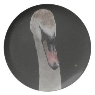 Cara del cisne del bebé de la placa plato de comida