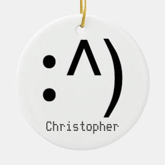Cara del código de ordenador nombrada adorno navideño redondo de cerámica