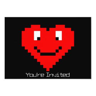 cara del corazón 8bit invitación 12,7 x 17,8 cm