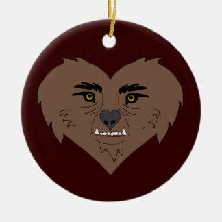Cara del corazón del hombre lobo adorno navideño redondo de cerámica
