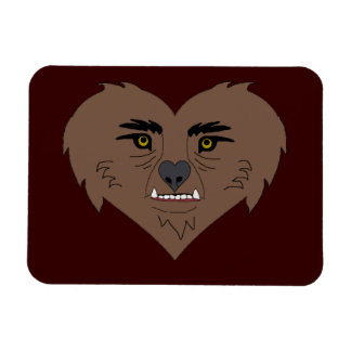 Cara del corazón del hombre lobo imán foto rectangular