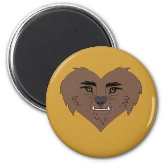 Cara del corazón del hombre lobo imán redondo 5 cm