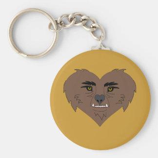Cara del corazón del hombre lobo llavero redondo tipo pin