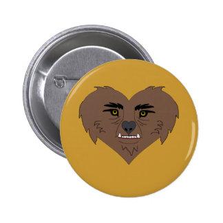 Cara del corazón del hombre lobo pin redondo de 2 pulgadas