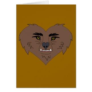 Cara del corazón del hombre lobo tarjeta de felicitación