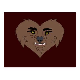 Cara del corazón del hombre lobo tarjetas postales