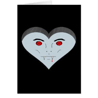 Cara del corazón del vampiro tarjeta de felicitación