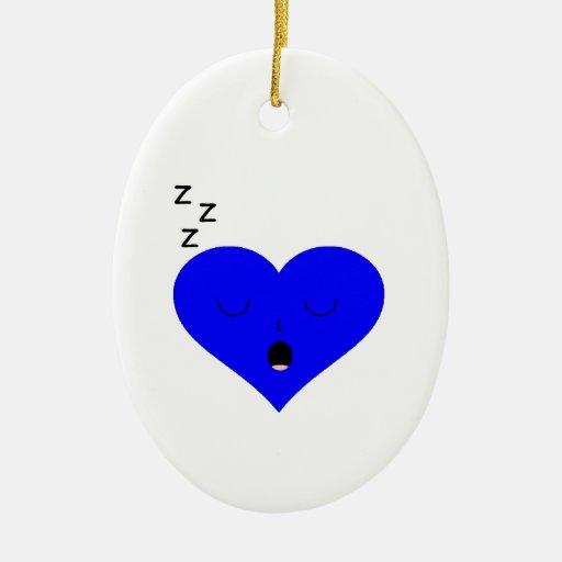 Cara del corazón el dormir adornos de navidad