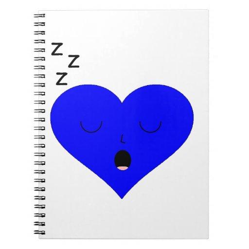 Cara del corazón el dormir cuaderno