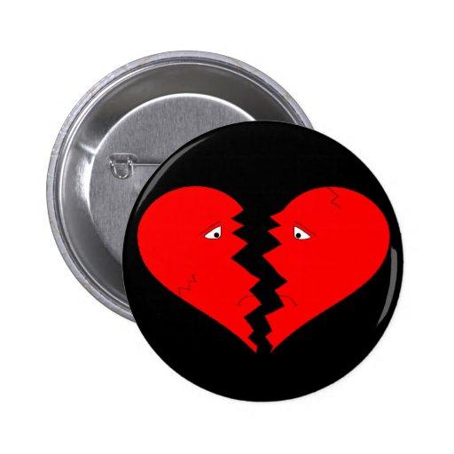 Cara del corazón quebrado pin redondo de 2 pulgadas