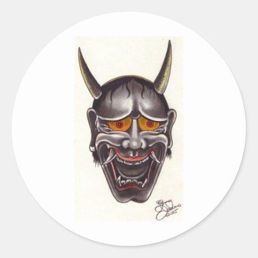 Cara del demonio pegatina redonda