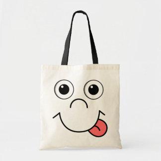 Cara del dibujo animado bolsa tela barata