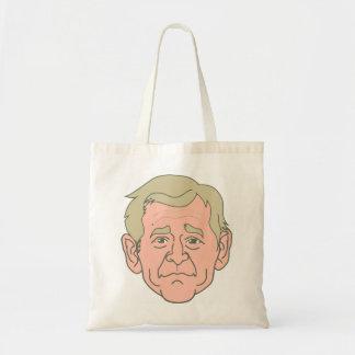 Cara del dibujo animado de George W. Bush Bolsa Tela Barata