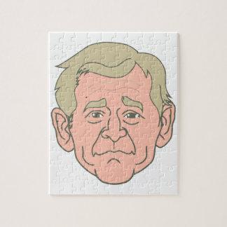 Cara del dibujo animado de George W. Bush Puzzle Con Fotos
