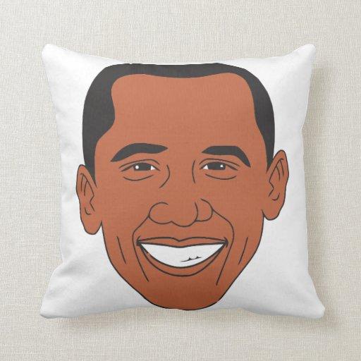 Cara del dibujo animado de presidente Barack Obama Cojín