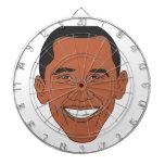 Cara del dibujo animado de presidente Barack Obama Tablero Dardos