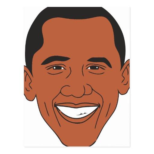 Cara del dibujo animado de presidente Barack Obama Postal