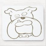 Cara del dibujo animado del dogo con el cuello cla alfombrillas de ratones