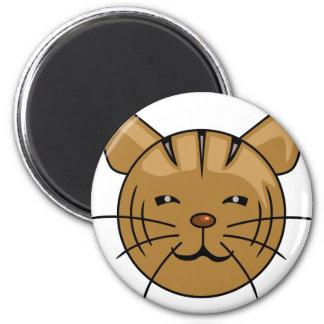 Cara del dibujo animado del gato de casa imán redondo 5 cm