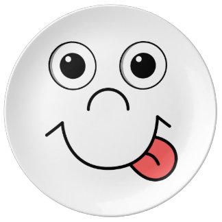 Cara del dibujo animado platos de cerámica