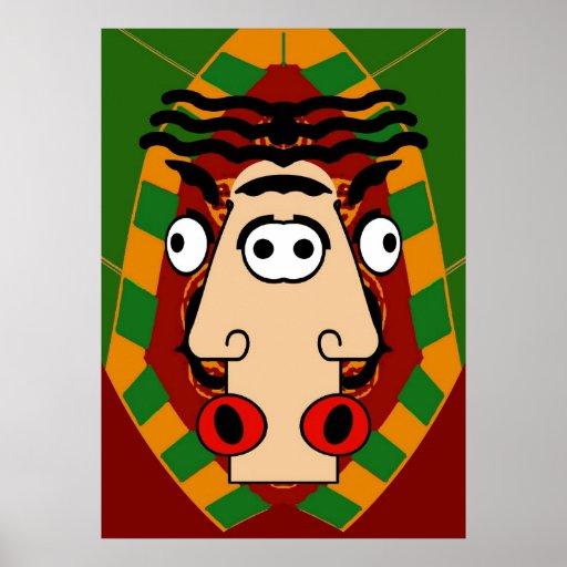 Cara del egipcio del cubismo póster