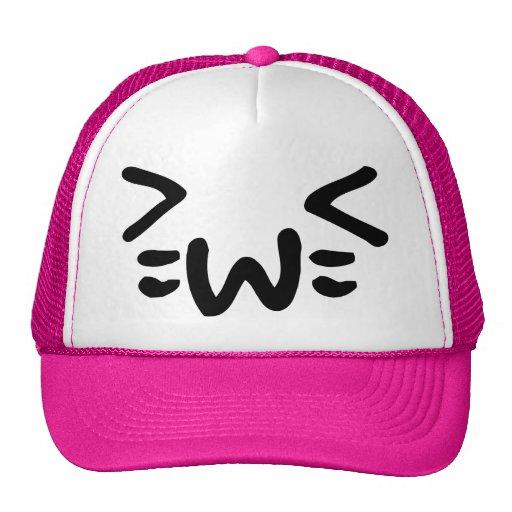 cara del emoticon del texto del gato gorras