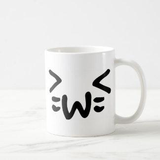 cara del emoticon del texto del gato taza de café