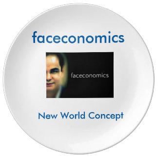 cara del faceconomics el mundo plato de cerámica