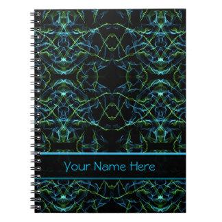 Cara del fractal del verde azul cuaderno