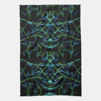 Cara del fractal del verde azul toallas de mano